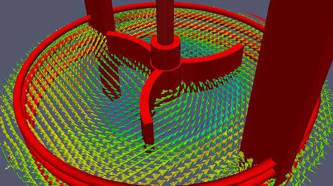 Horicontal velocity field in stirred tank; CFD Professor Heyko Schultz